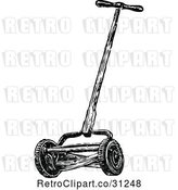Vector Clip Art of Retro Cylinder Lawn Mower by Prawny Vintage