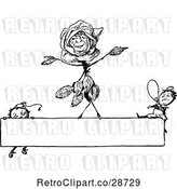 Vector Clip Art of Retro Dancing Rose and Boys on a Sign by Prawny Vintage
