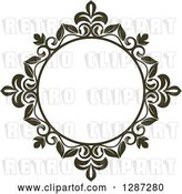 Vector Clip Art of Retro Dark Brown Round Ornate Floral Frame 2 by Vector Tradition SM