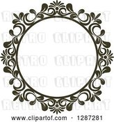 Vector Clip Art of Retro Dark Brown Round Ornate Floral Frame 3 by Vector Tradition SM