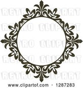 Vector Clip Art of Retro Dark Brown Round Ornate Floral Frame 5 by Vector Tradition SM