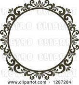 Vector Clip Art of Retro Dark Brown Round Ornate Floral Frame 6 by Vector Tradition SM