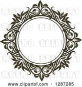 Vector Clip Art of Retro Dark Brown Round Ornate Floral Frame 7 by Vector Tradition SM