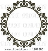 Vector Clip Art of Retro Dark Brown Round Ornate Floral Frame 8 by Vector Tradition SM