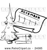 March 21st, 2018: Vector Clip Art of Retro December Calendar with a Christmas Tree by Prawny Vintage