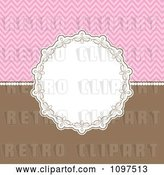 Vector Clip Art of Retro Decorative Circular Frame over a Pink Chevron Pattern and Brown by KJ Pargeter