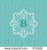 Vector Clip Art of Retro Decorative Design with Letter B over Turquoise Stripes by KJ Pargeter