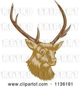 Vector Clip Art of Retro Deer Head with Antlers by Patrimonio