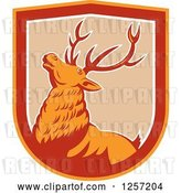 Vector Clip Art of Retro Deer in a Tan White Red and Orange Shield by Patrimonio