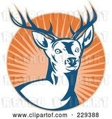 Vector Clip Art of Retro Deer Stag and Burst Logo by Patrimonio