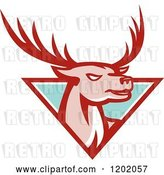 Vector Clip Art of Retro Deer Stag Head Emerging from a Turquoise Triangle by Patrimonio