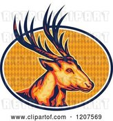 Vector Clip Art of Retro Deer Stag Head over an Oval of Diamonds by Patrimonio