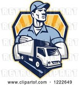Vector Clip Art of Retro Delivery Guy and a Truck over a Shield of Rays by Patrimonio