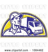 Vector Clip Art of Retro Delivery Guy and Truck by Patrimonio