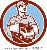 Vector Clip Art of Retro Delivery Guy and Truck in a Circle by Patrimonio