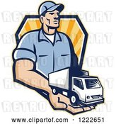 Vector Clip Art of Retro Delivery Guy Holding a Truck in His Hand over a Shield of Rays by Patrimonio