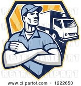 Vector Clip Art of Retro Delivery Guy with Folded Arms and a Truck over a Shield of Rays by Patrimonio