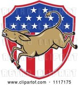 Vector Clip Art of Retro Democratic Party Donkey Bucking over an American Flag Shield by Patrimonio