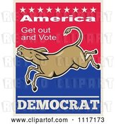 Vector Clip Art of Retro Democratic Party Donkey Bucking with Vote Text by Patrimonio