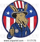 Vector Clip Art of Retro Democratic Party Donkey Uncle Sam Giving a Thumb up in an American Circle by Patrimonio