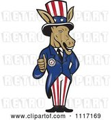 Vector Clip Art of Retro Democratic Party Donkey Uncle Sam Holding a Thumb up by Patrimonio