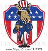Vector Clip Art of Retro Democratic Party Donkey Uncle Sam Holding a Thumb up over an American Shield by Patrimonio