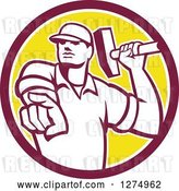 Vector Clip Art of Retro Demolition Worker Guy Holding a Hammer and Pointing Outwards in a Maroon White and Yellow Circle by Patrimonio