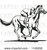 Vector Clip Art of Retro Derby Jockey Racing a Horse 3 by Patrimonio