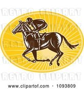 Vector Clip Art of Retro Derby Jockey Racing a Horse over Yellow Rays by Patrimonio
