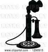 Vector Clip Art of Retro Desk Candlestick Telephone 2 by Vector Tradition SM