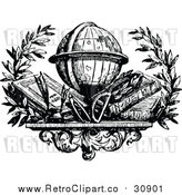 Vector Clip Art of Retro Desk Globe over Books by Prawny Vintage