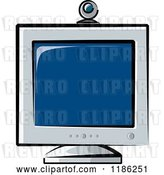 Vector Clip Art of Retro Desktop Computer Monitor and Web Cam by Lal Perera