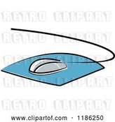 Vector Clip Art of Retro Desktop Computer Mouse and Pad by Lal Perera