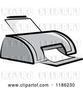 Vector Clip Art of Retro Desktop Computer Printer by Lal Perera