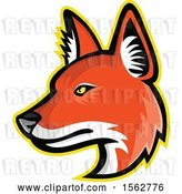 Vector Clip Art of Retro Dhole Asiatic Wild Dog Mascot Head Facing Left by Patrimonio