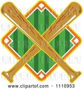 Vector Clip Art of Retro Diamond Baseball Field with Crossed Wooden Bats by Patrimonio