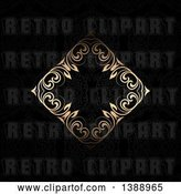 Vector Clip Art of Retro Diamond Floral Gold Frame on a Black Background by KJ Pargeter