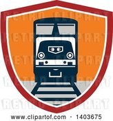 Vector Clip Art of Retro Diesel Freight Train on a Track in a Red White and Orange Shield by Patrimonio