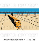 Vector Clip Art of Retro Diesel Train on Tracks near a Viaduct by Patrimonio