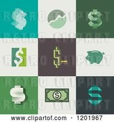 Vector Clip Art of Retro Different Styled Dollar Symbol Graph and Piggy Bank Squares by Elena