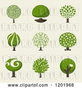 Vector Clip Art of Retro Different Styled Green Tree Squares by Elena