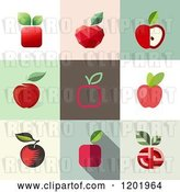 Vector Clip Art of Retro Different Styled Red Apple Squares by Elena