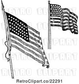 Vector Clip Art of Retro Digital Collage of American Flags Waving by BestVector