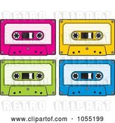 Vector Clip Art of Retro Digital Collage of Audio Cassette Tapes by Any Vector