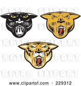 August 14th, 2018: Vector Clip Art of Retro Digital Collage of Big Cat Heads by Patrimonio