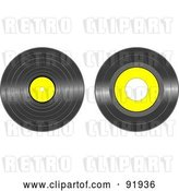 Vector Clip Art of Retro Digital Collage of Black and Yellow Vinyl Records by Tdoes