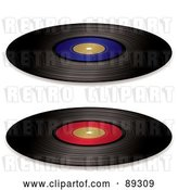 Vector Clip Art of Retro Digital Collage of Black Vinyl Records with Red and Blue Blank Labels by Michaeltravers