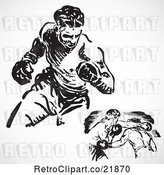 Vector Clip Art of Retro Digital Collage of Boxers Fighting by BestVector