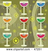 Vector Clip Art of Retro Digital Collage of Colorful Drinks on a Circle Background by Prawny