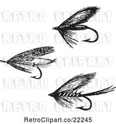 Vector Clip Art of Retro Digital Collage of Fly Fishing Hooks - 1 by BestVector